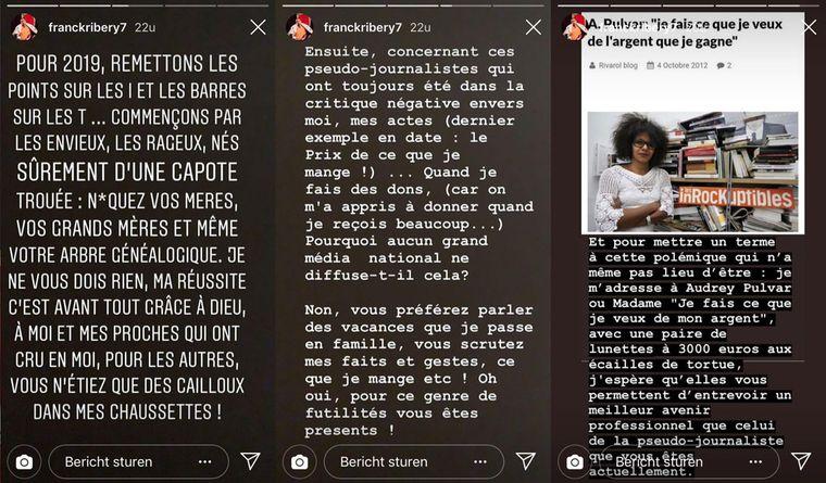 Het boze statement van Franck Ribéry op zijn Instagram-account.